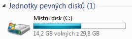 windows 7 pevný disk ssd 32gb volné místo