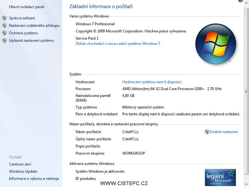 windows 7 základní informace o počítači