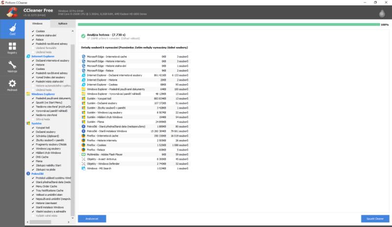 ccleaner smazání starší instalace windows 1