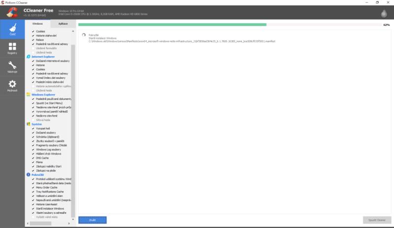ccleaner smazání starší instalace windows 2
