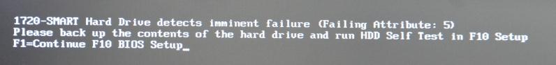 harddisk chybová hláška