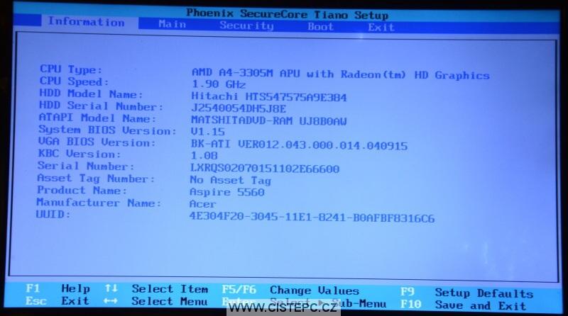 Windows 10 čistá instalace 01 - natavení biosu