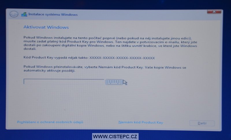 Windows 10 čistá instalace 07