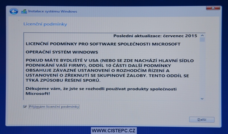 Windows 10 čistá instalace 08