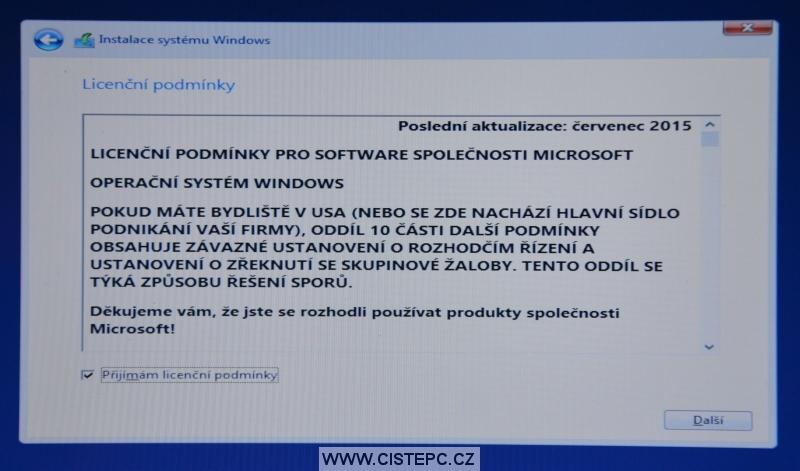 Windows 10 čistá instalace 08