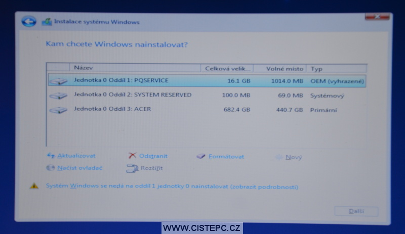 Windows 10 čistá instalace 10