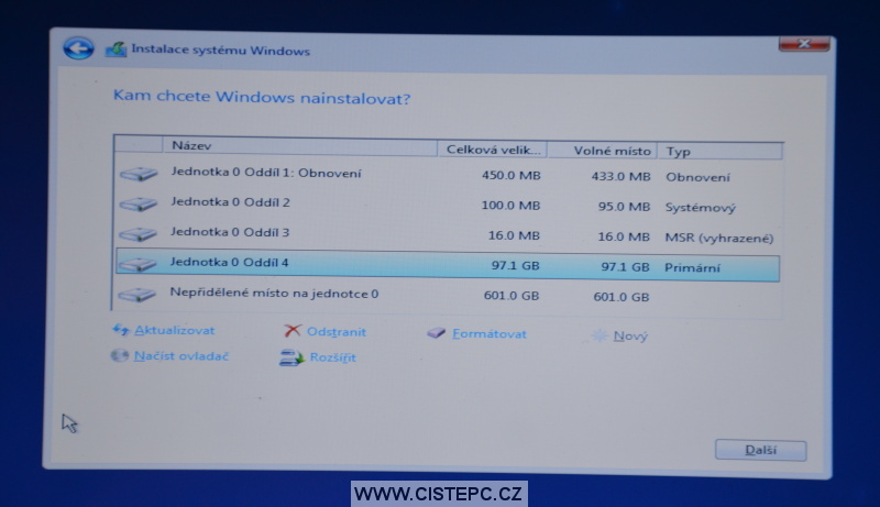 Windows 10 čistá instalace 11