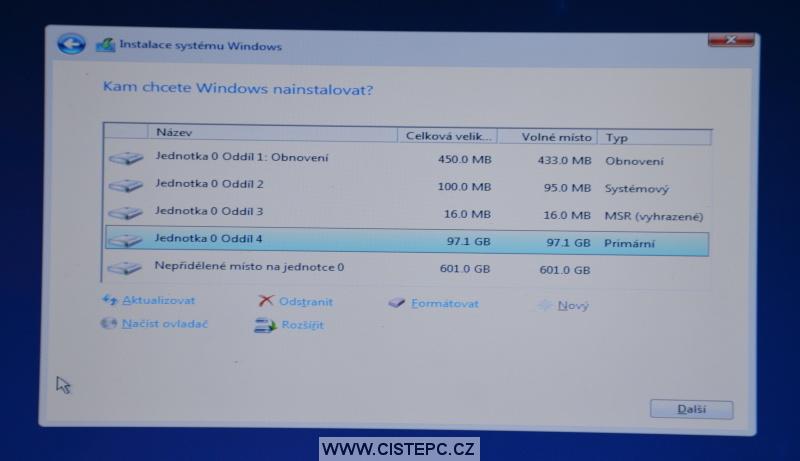 Windows 10 čistá instalace 11
