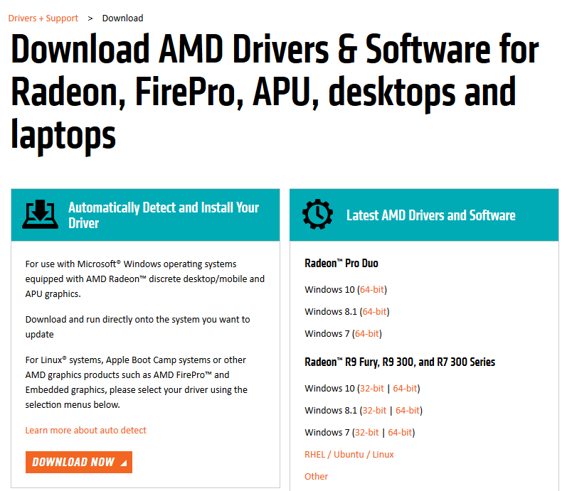 amd ovladač grafické karty ati driver