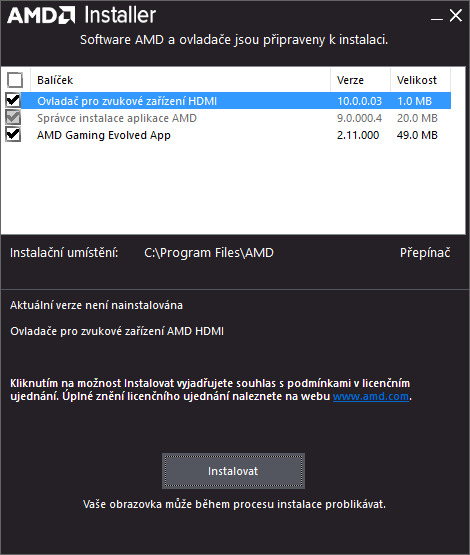 amd ovladač grafické karty ati driver 3