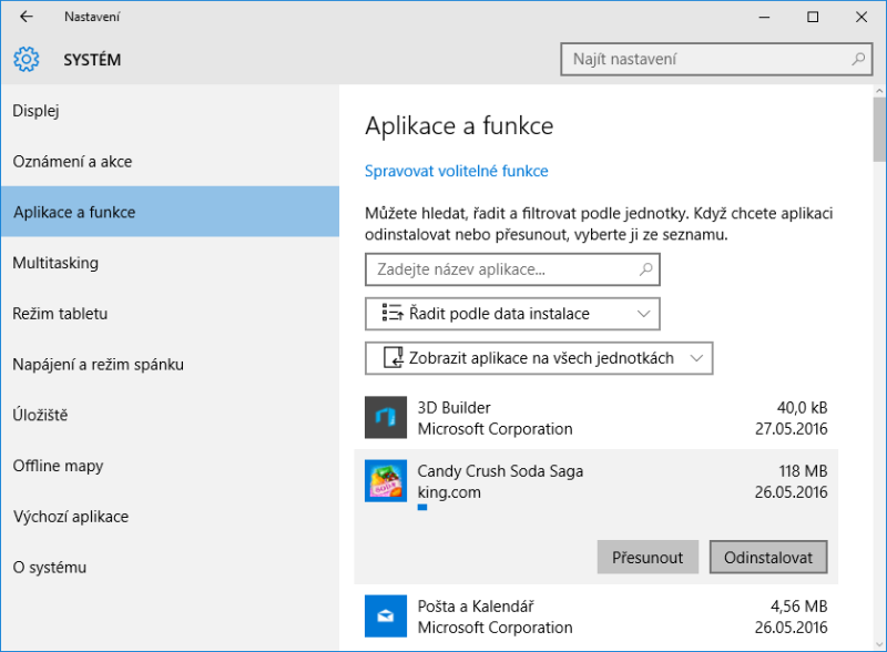 odinstalace programu windows10