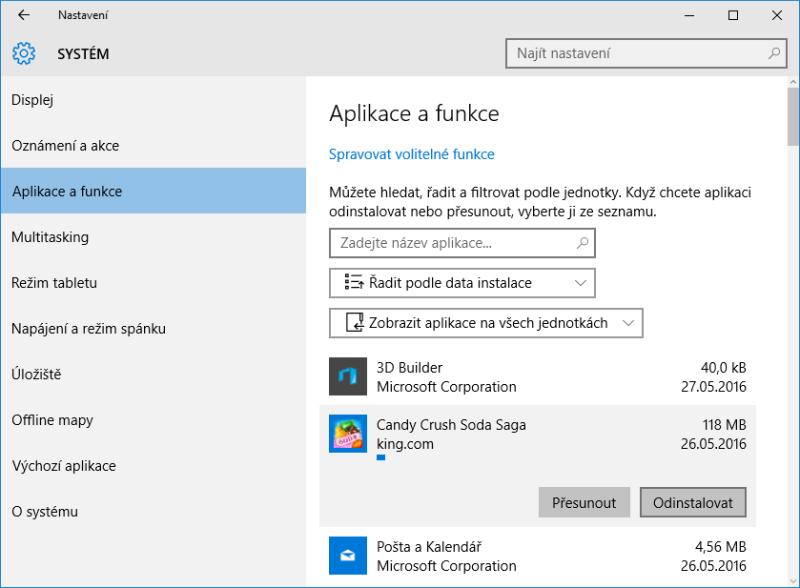 odinstalace programu windows10