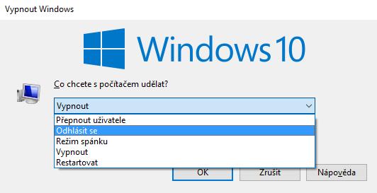 windows10 odhlášení