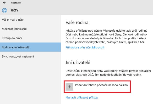 Přidání uživatele do windows10 1