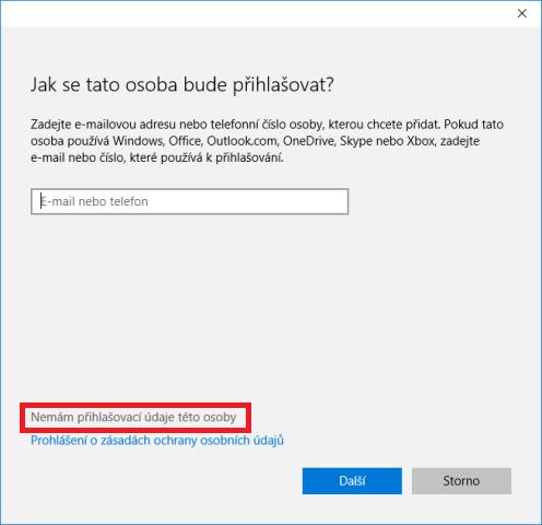 Přidání uživatele do windows10 2