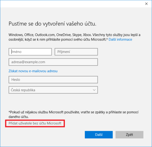 Přidání uživatele do windows10 3