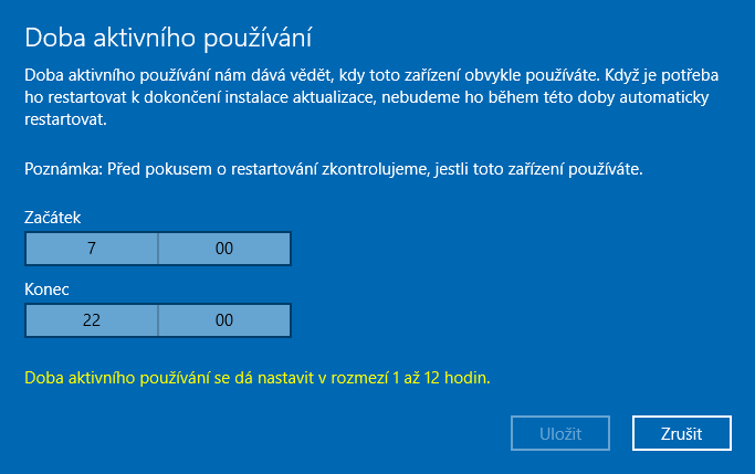 windows 10 čas aktualizací 2