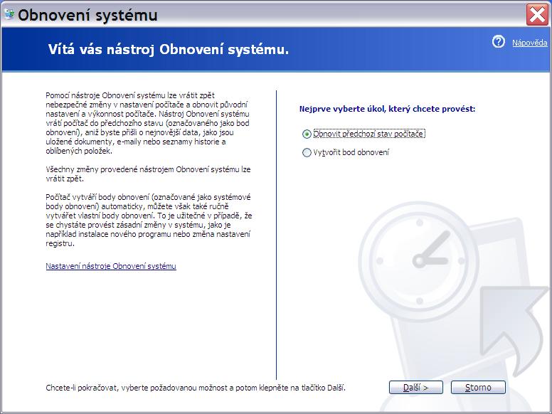 obnovení systému Windows XP 2