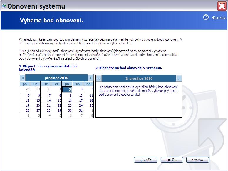obnovení systému Windows XP 3