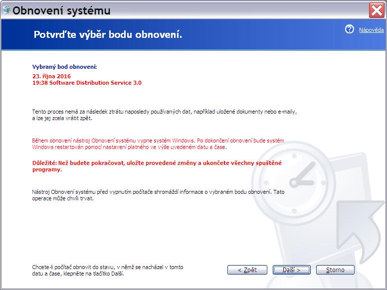 obnovení systému Windows XP 5