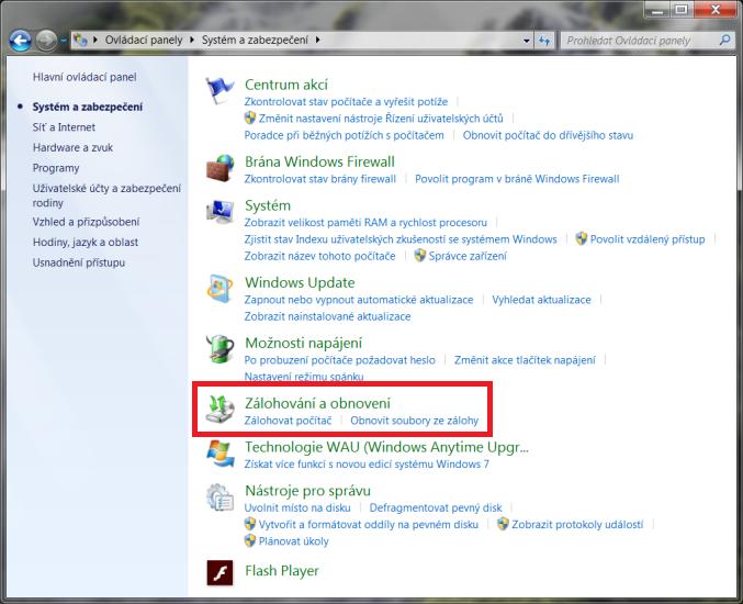 Obnovení systému Windows 7 2