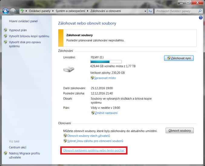 windows 7 obnovení systému 3