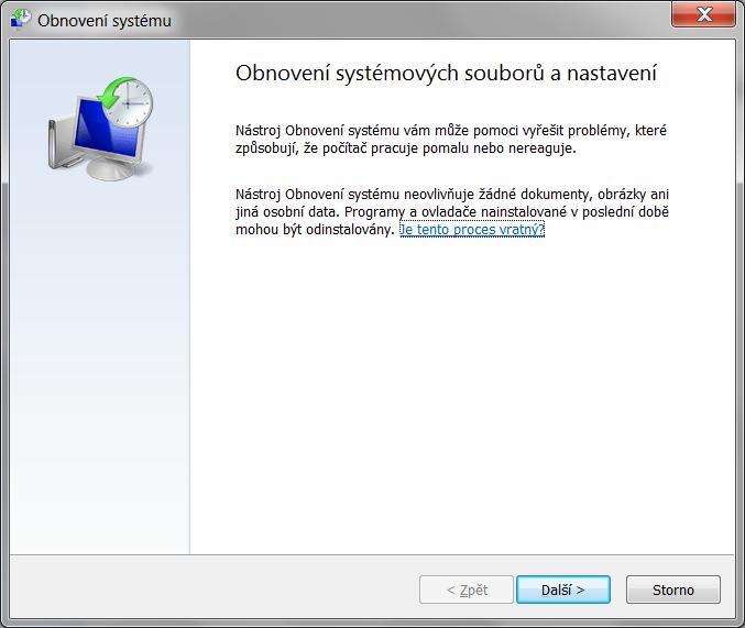 Obnovení systému Windows 7 6