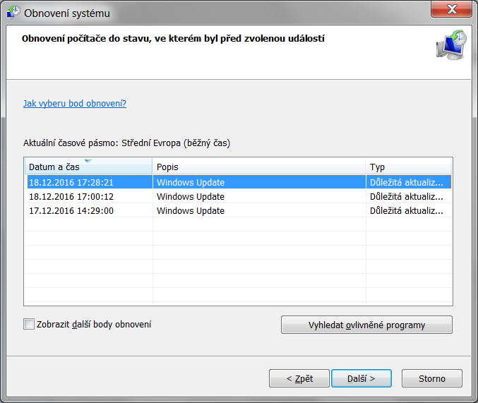 Obnovení systému Windows 7 7