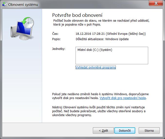 Obnovení systému Windows 7 8