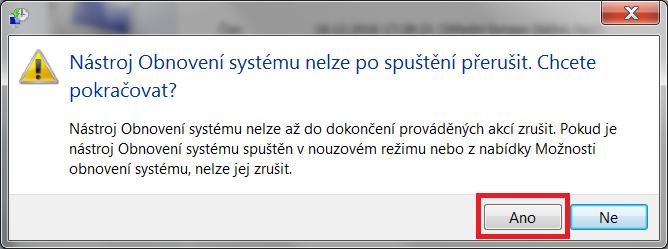 Obnovení systému Windows 7 9