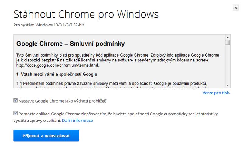Google Chrome prohlížeč 2
