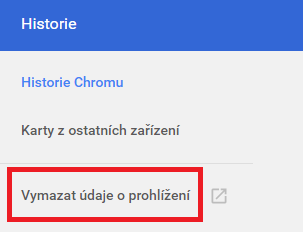 Google Chrome - historie prohlížení