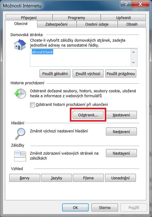 Internet Explorer - historie prohlížení