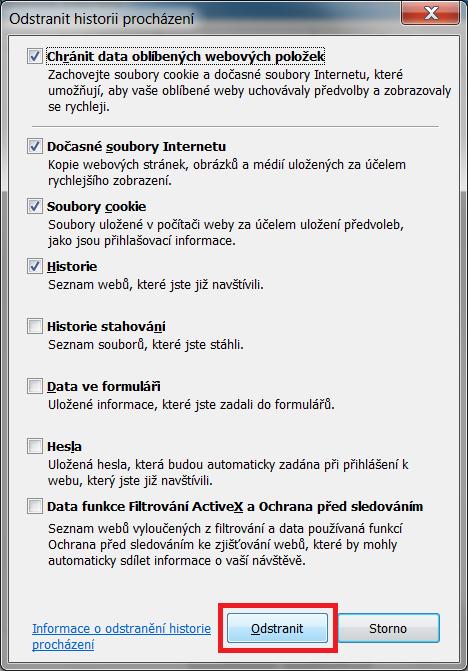 Internet Explorer - historie prohlížení 2