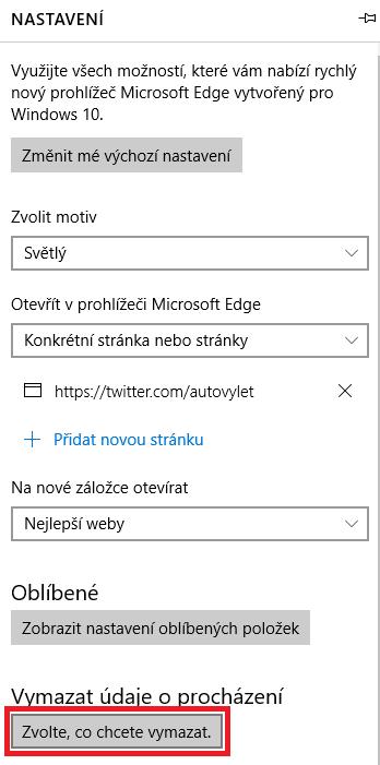 Microsoft Edge - historie prohlížení
