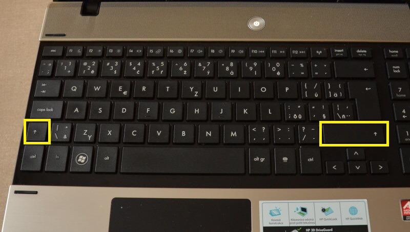 klávesnice hp notebook – klávesa shift