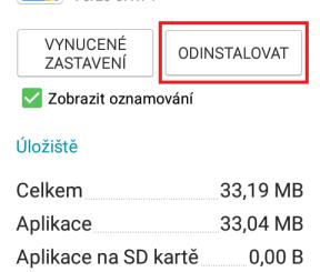 Smazání aplikace v mobilu Samsung 3