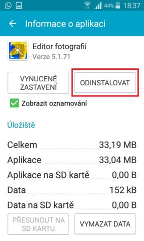 Jak odinstalovat aplikaci z mobilu Samsung 3