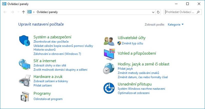 Ovládací panely Windows 10 - 2