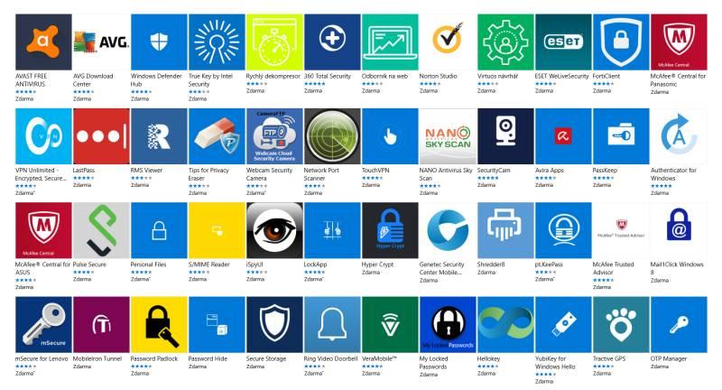 Windows Store - aplikace zabezpečení