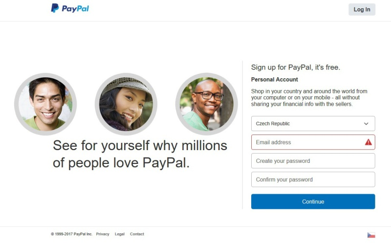 paypal registrace přihlášení 03
