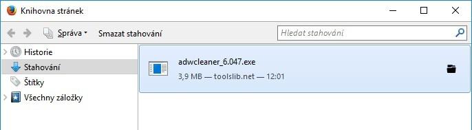 Stažené soubory Mozilla Firefox