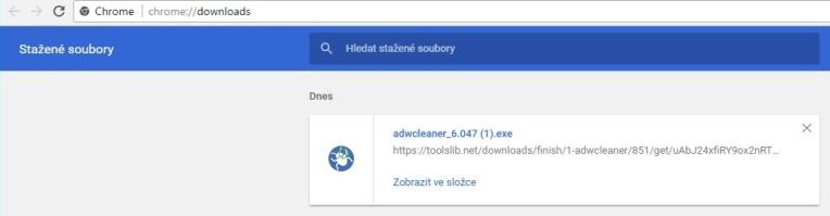 Stažené soubory Google Chrome