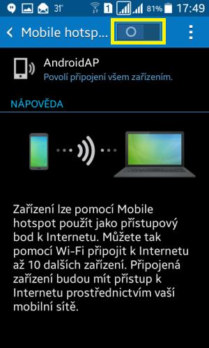 Sdílení internetu wifi Samsung 5