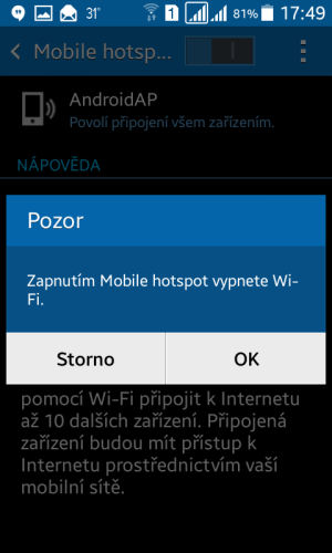 Sdílení internetu wifi Samsung 6