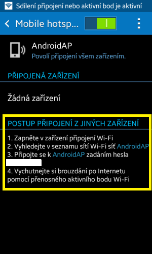Sdílení internetu wifi Samsung 7