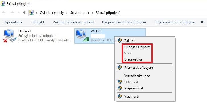 wifi síťová připojení windows 10