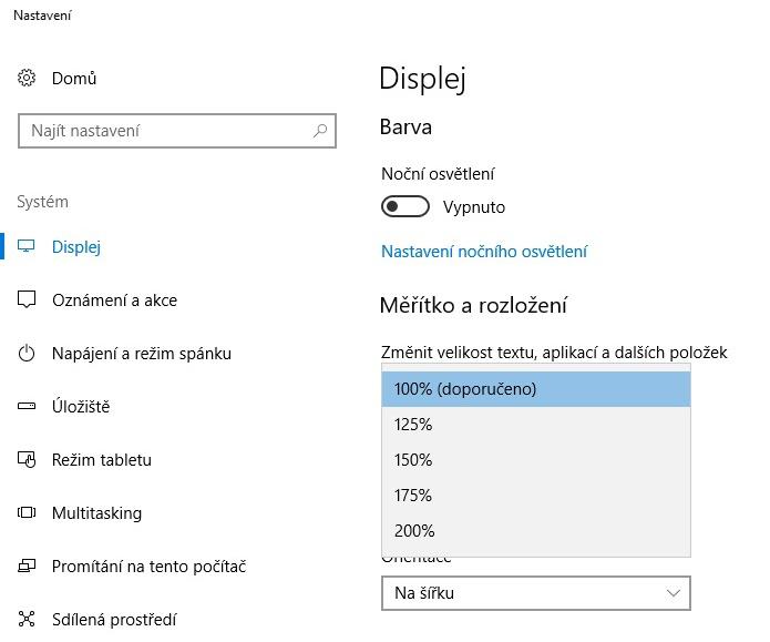 změnit velikost textu windows10