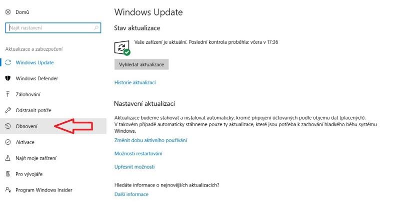 obnovení systému windows 10 2