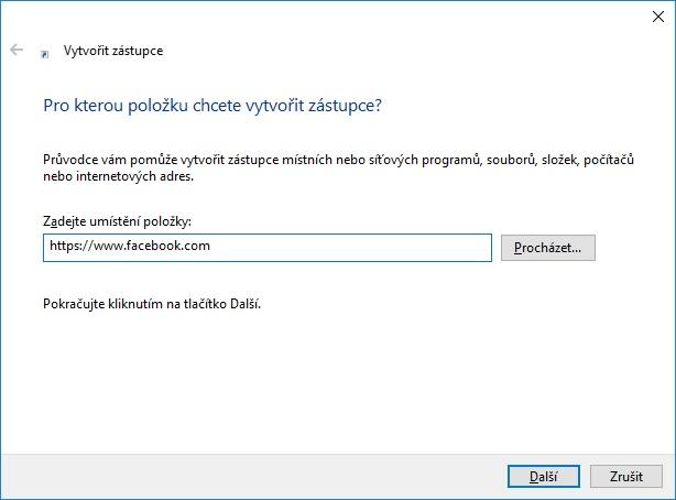 jak vytvořit zástupce fb na ploše ve windows 10